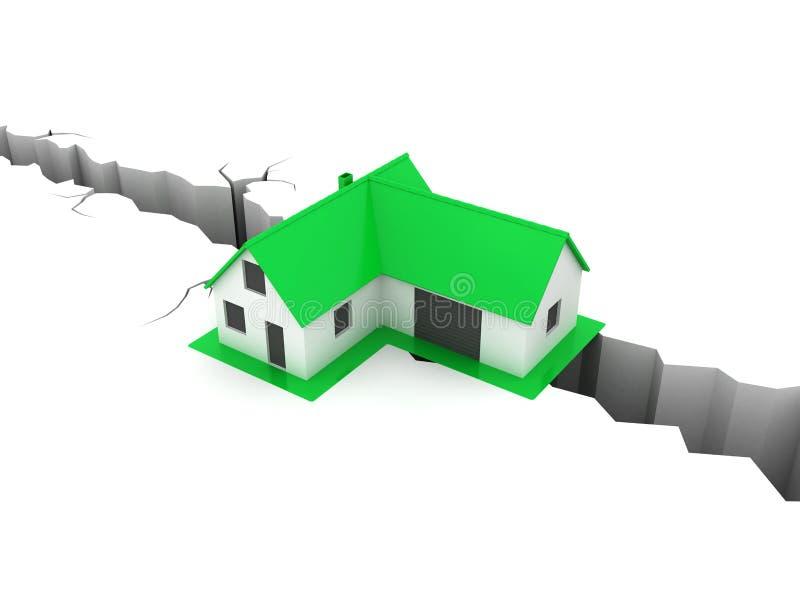Weinig groen huis over een gat royalty-vrije illustratie