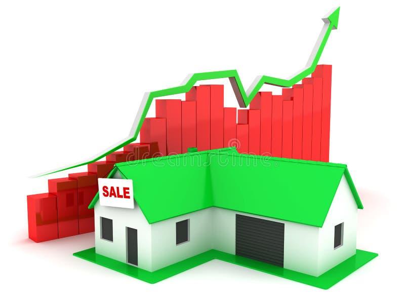 Weinig groen huis voor Verkoop en grafiek vector illustratie