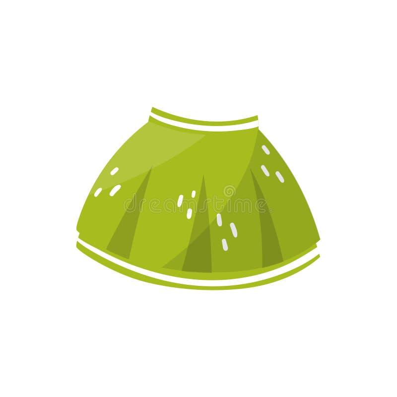 Weinig groene rok voor peutermeisje Kinderens kleding Modieus jonge geitjeskledingstuk Element voor infographic over het voorbere vector illustratie