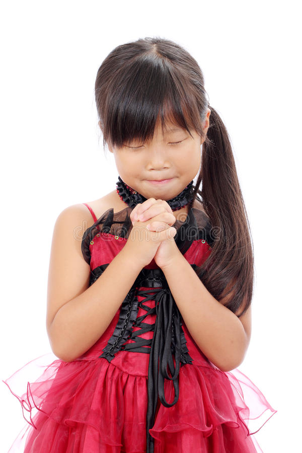 Weinig Het Aziatische Meisje Bidden Royalty-vrije Stock Fotografie