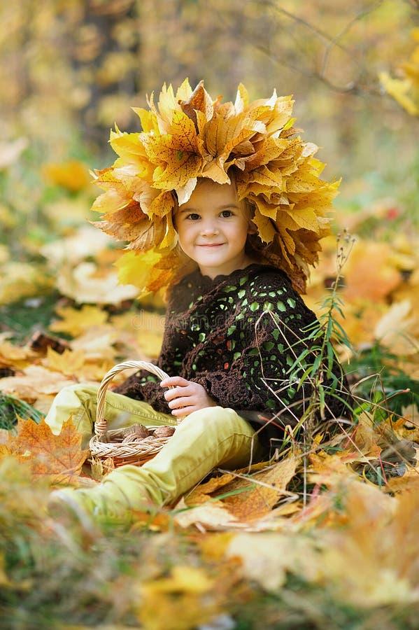 Weinig het glimlachen meisjeszitting op een plaid in een de herfstpark royalty-vrije stock foto's