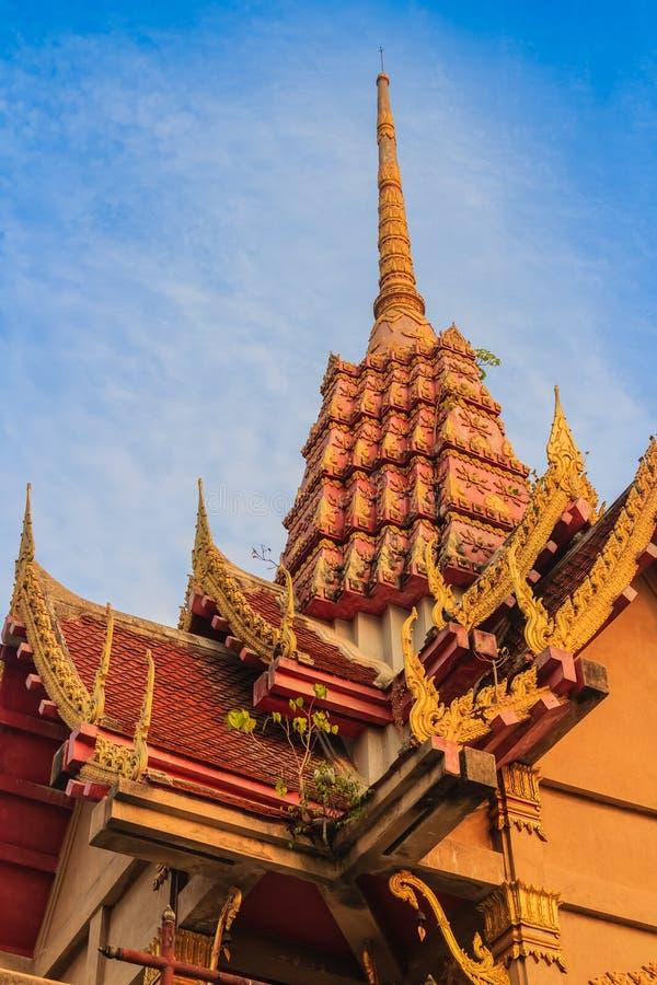 Weinig het groene bodhiboom groeien bovenop gouden pagode onder royalty-vrije stock foto's