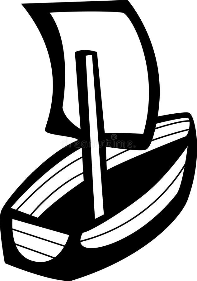 Weinig het houten schip varen vector illustratie
