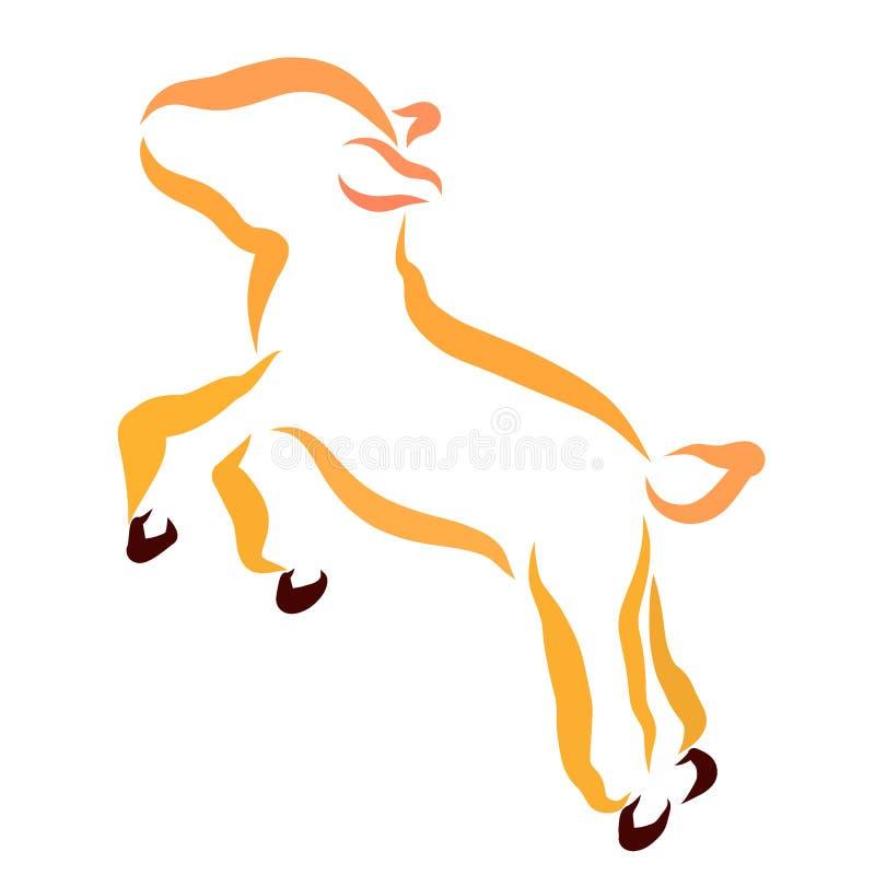 Weinig het springen lam, oranje overzicht, leuk dier royalty-vrije illustratie