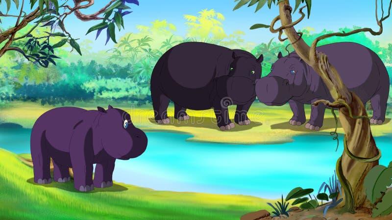 Weinig Hippo is Bang van Water vector illustratie