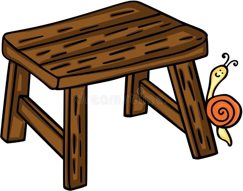 Weinig houten bank met slak vector illustratie