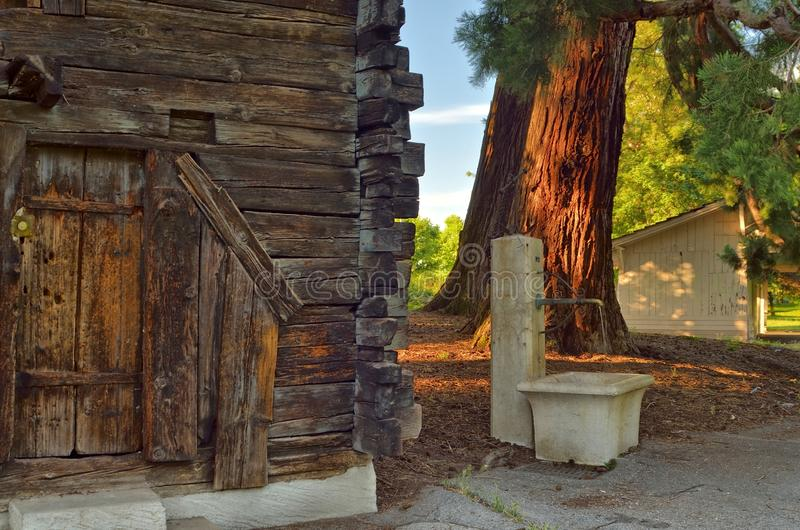 Weinig houten huis in het park stock foto