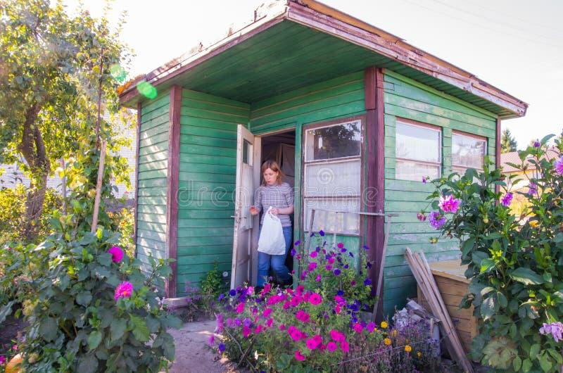 Weinig houten tuinhuis royalty-vrije stock fotografie