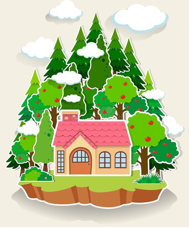 Weinig huis in het bos vector illustratie