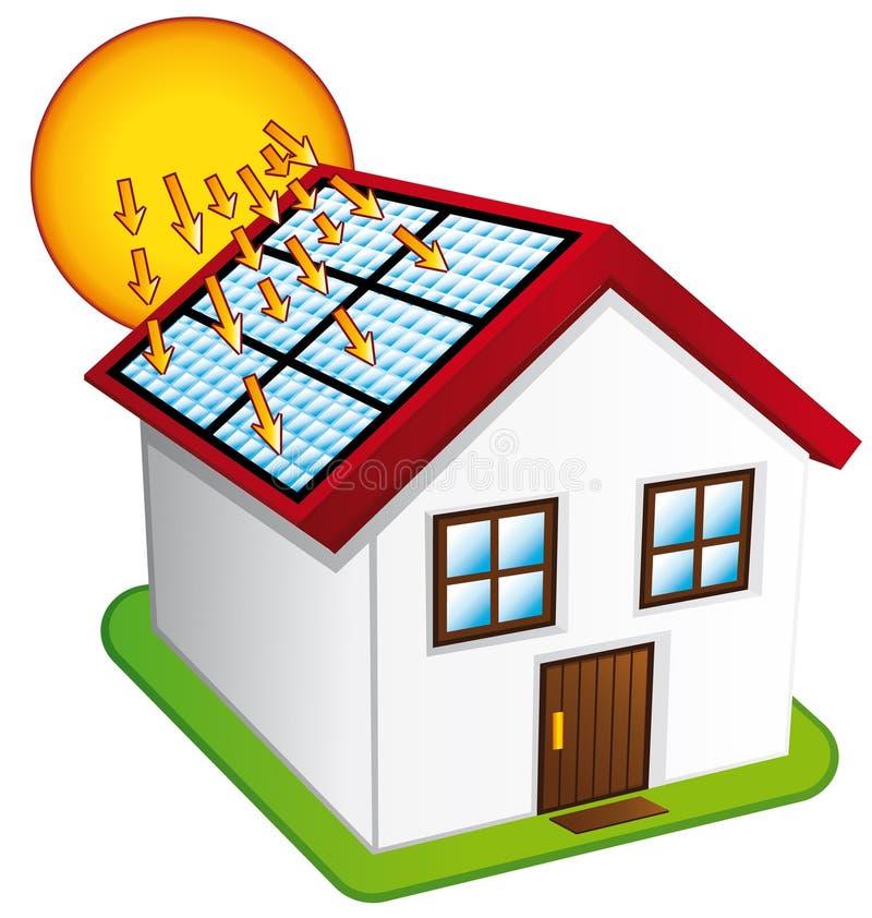Weinig huis met zonnepanelen. vector illustratie