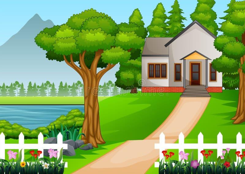 Weinig huis in mooi dorp met groen yardhoogtepunt van bloemen royalty-vrije illustratie