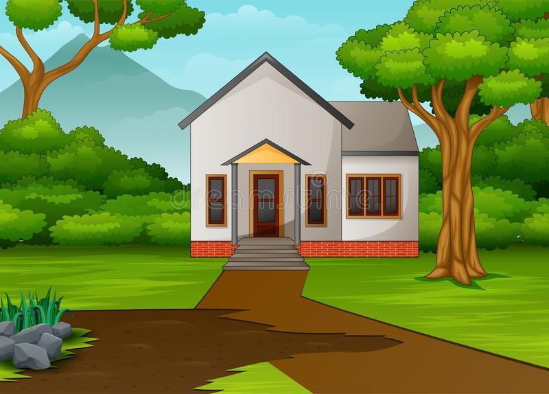 Weinig huis in mooi landschap met groene yard stock illustratie