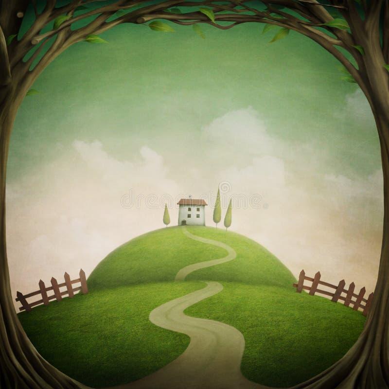 Weinig huis op de heuvel royalty-vrije illustratie