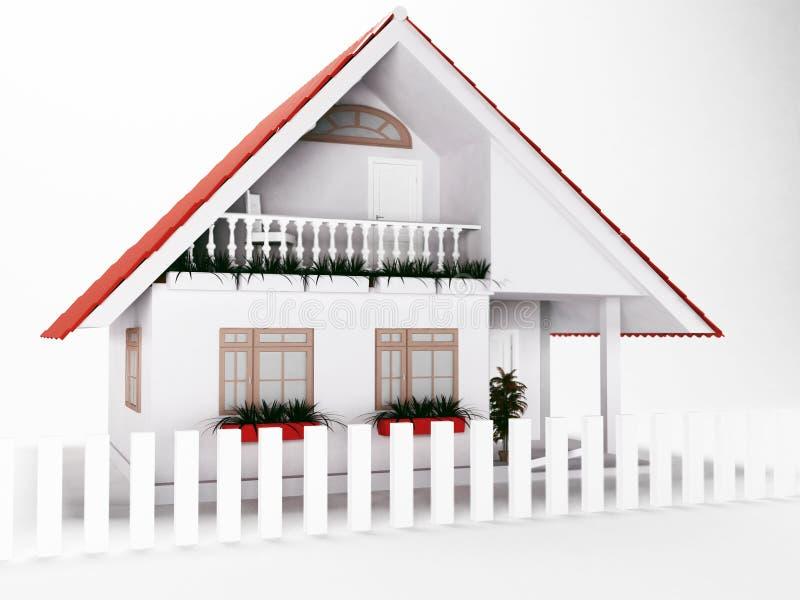 Weinig huis op witte achtergrond royalty-vrije illustratie
