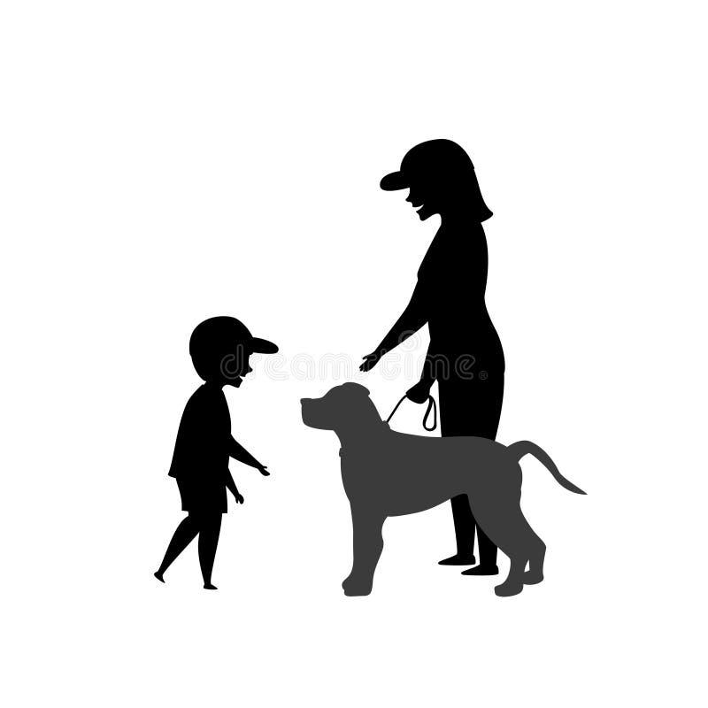 Weinig jong geitjejongen die om de toestemming van de hondeigenaar vragen om het huisdierensilhouet te plagen stock illustratie