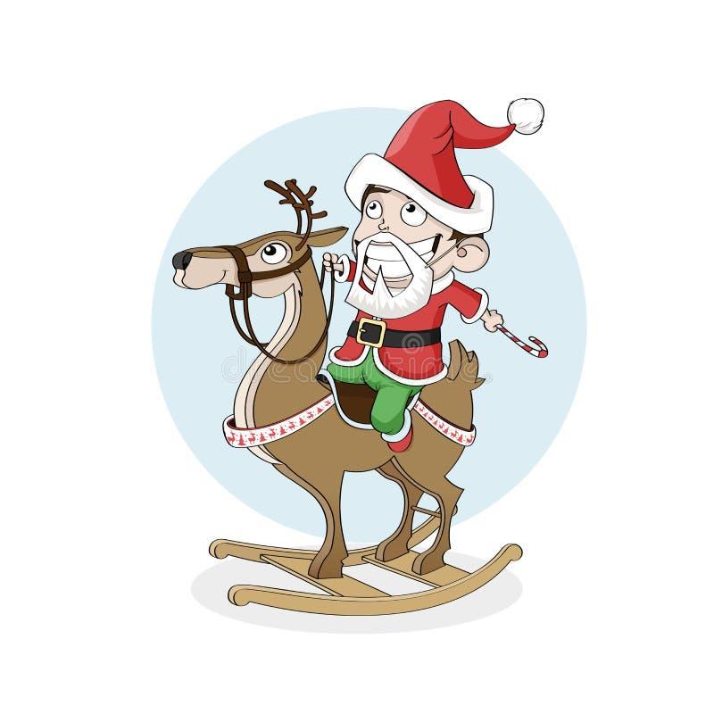 Weinig jongen als houten rendier van de santarit Kerstmis, Nieuwjaar royalty-vrije illustratie