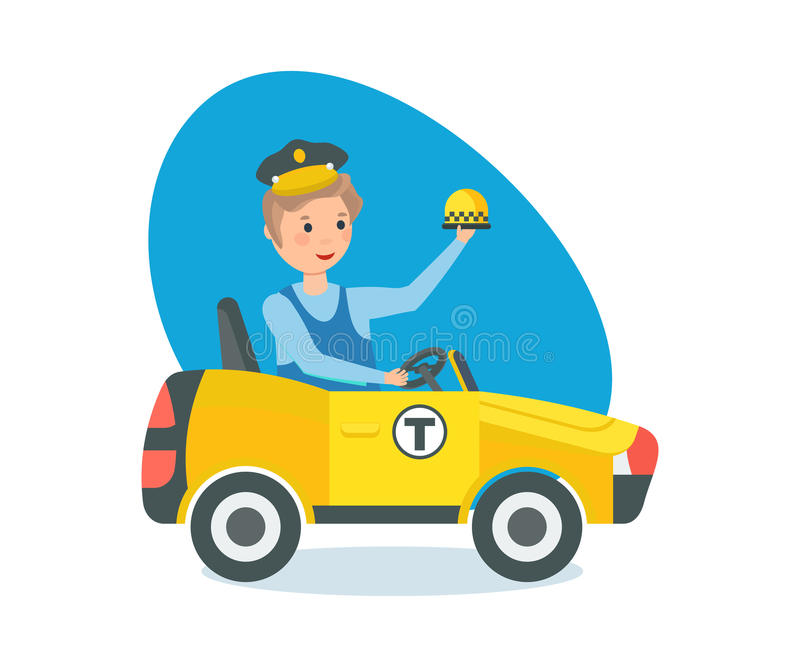 Weinig jongen in auto bij wiel, in de bestuurder van de roltaxi royalty-vrije illustratie