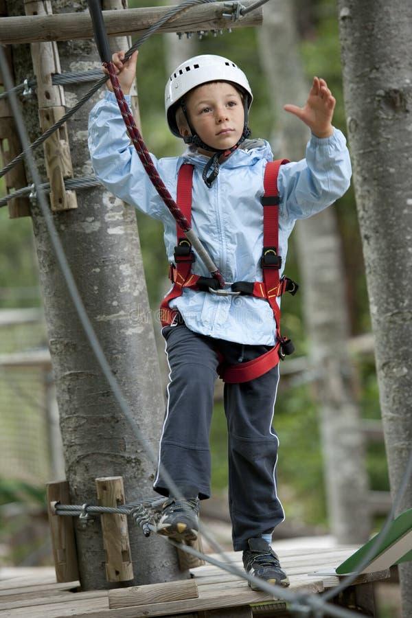 Weinig jongen in avonturenpark royalty-vrije stock foto's
