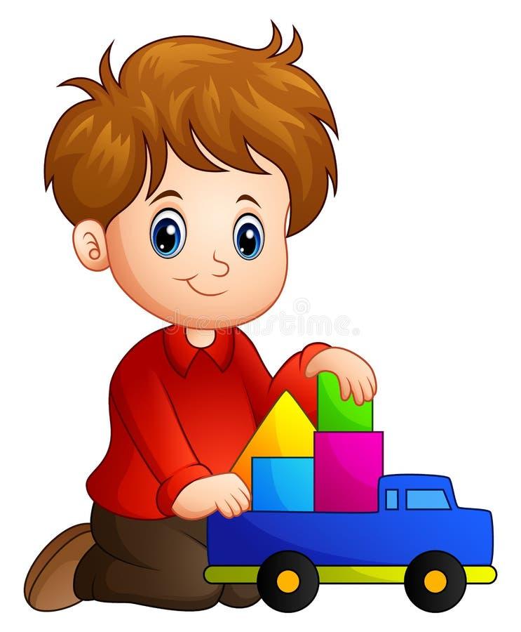 Weinig jongen bouwt een huis uit blokken met stuk speelgoed vrachtwagen stock illustratie