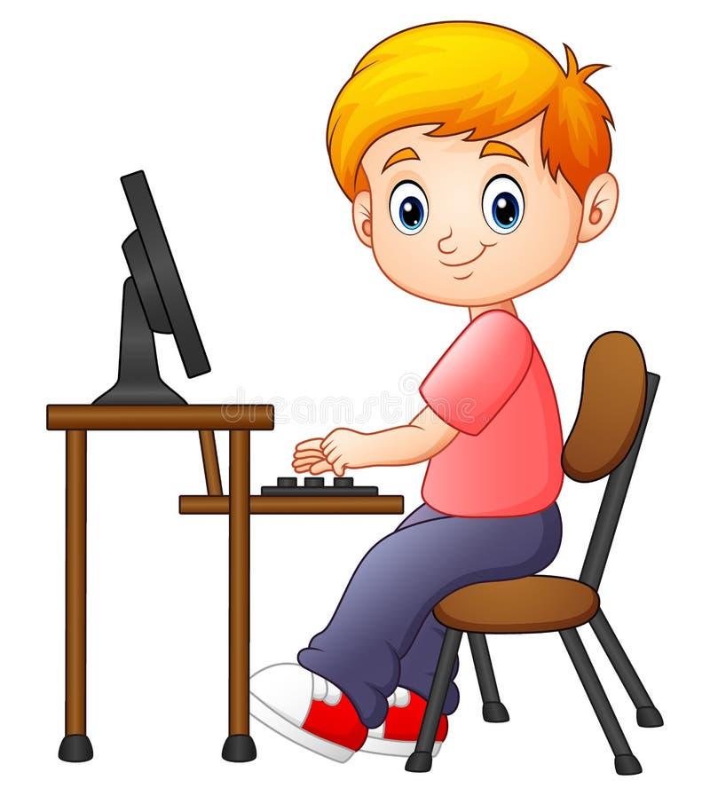 Weinig jongen die aan de computer werken stock illustratie