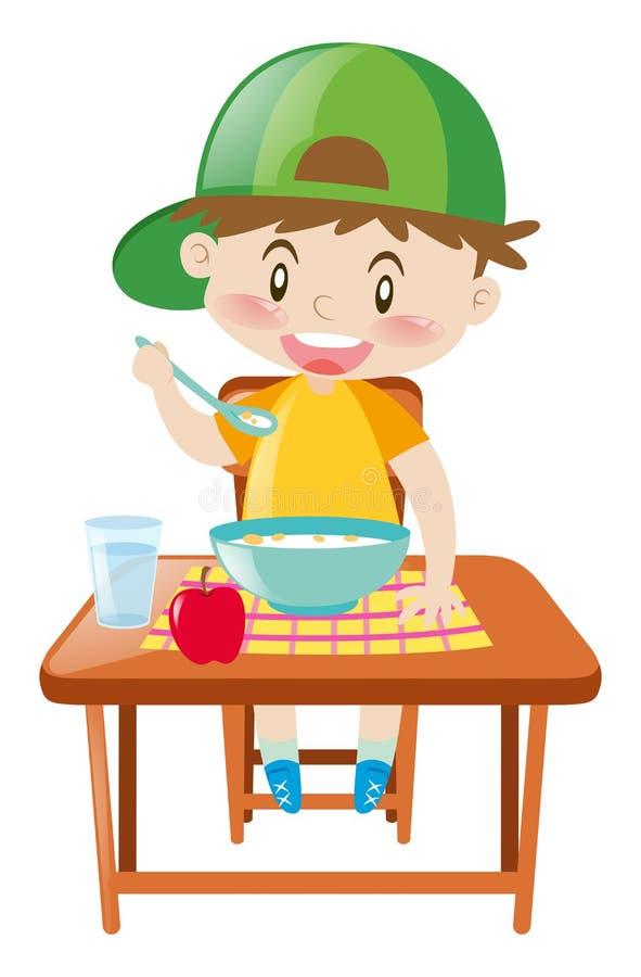 Weinig jongen die bij eettafel ontbijt eten vector illustratie