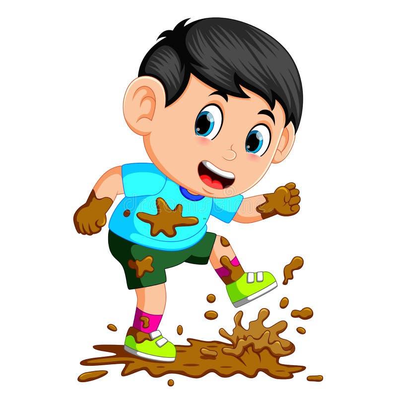 Weinig jongen die in de modder lopen vector illustratie