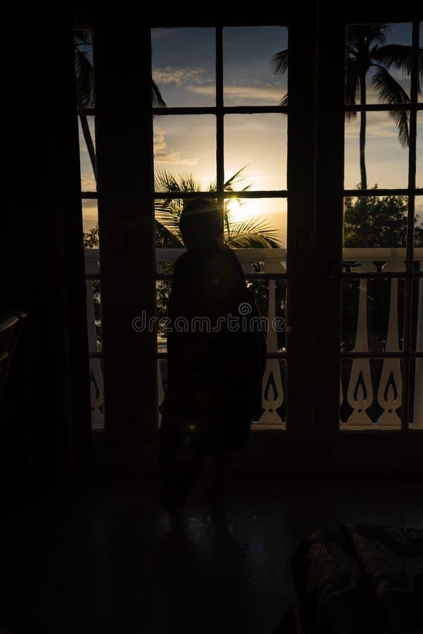 Weinig jongen die door de Franse deuren een mooie zonsondergang bekijken royalty-vrije stock afbeeldingen
