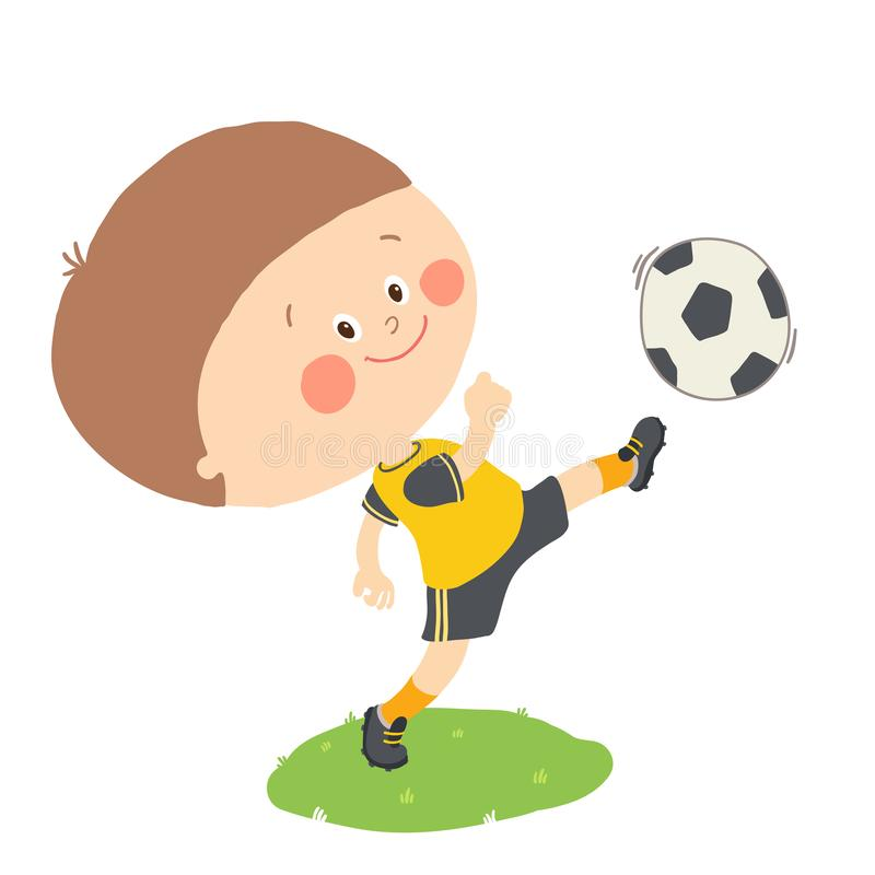 Weinig jongen die een voetbalbal op groen geïsoleerd gebied schoppen Beeldverhaal vectorhand getrokken illustratie die op wit wor royalty-vrije illustratie