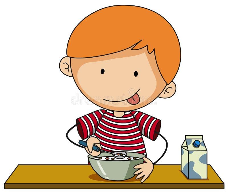 Weinig jongen die graangewas met melk hebben stock illustratie