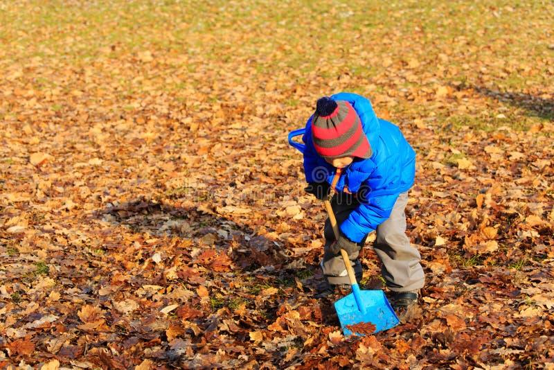 Weinig jongen die in het park van de de herfstdaling graven royalty-vrije stock foto