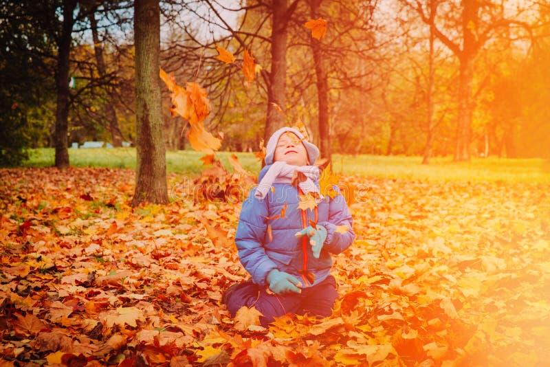 Weinig jongen die met bladeren in de herfstdaling spelen stock fotografie