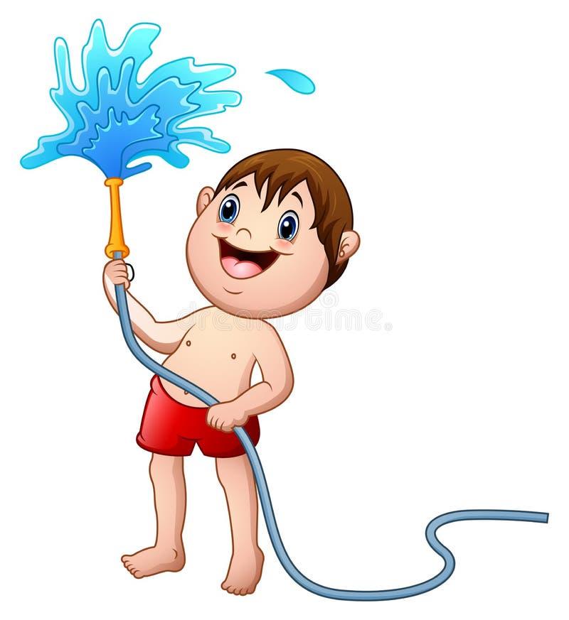 Weinig jongen die met de waterslang spelen royalty-vrije illustratie