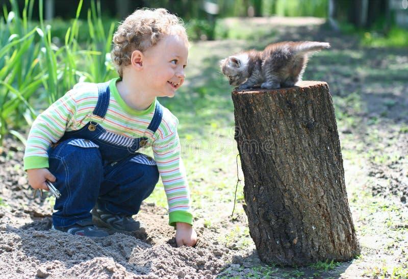Weinig jongen die met katje speelt royalty-vrije stock fotografie