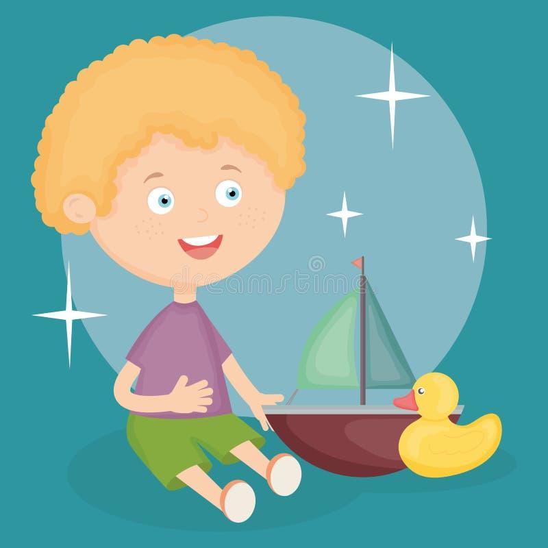 Weinig jongen die met zeilboot en eend spelen royalty-vrije illustratie