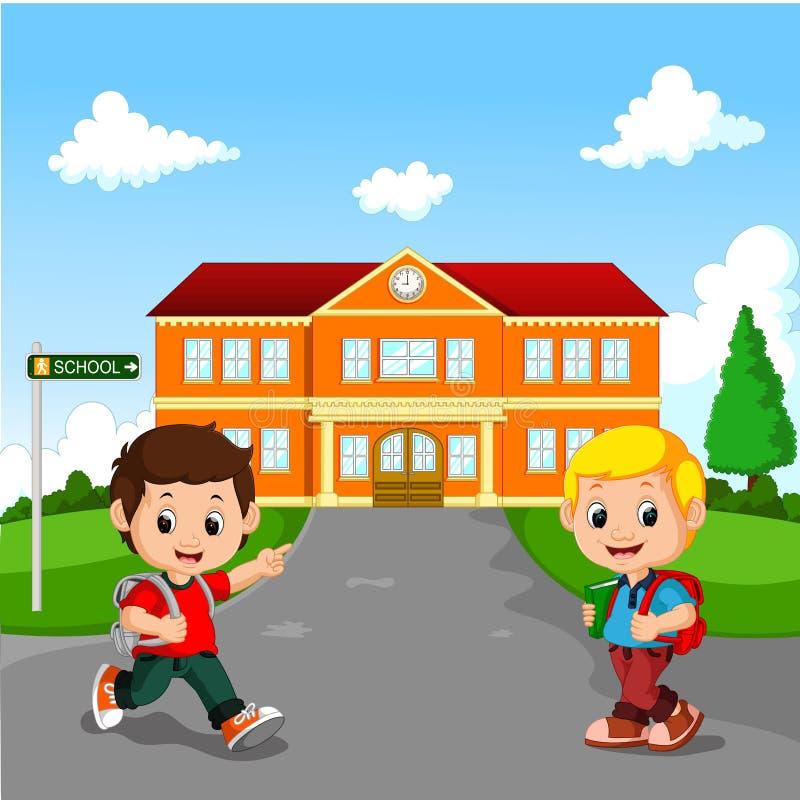 Weinig jongen die naar school gaat royalty-vrije illustratie