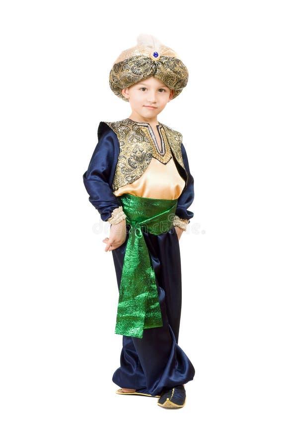 Weinig jongen die oosters kostuum draagt royalty-vrije stock foto's