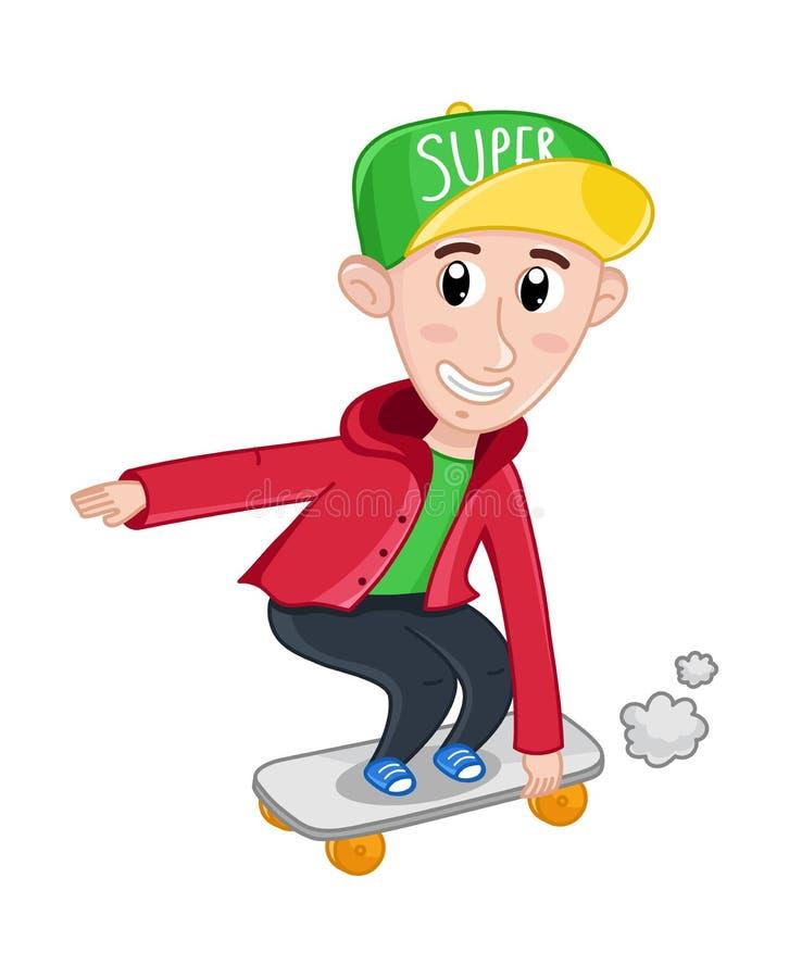 Weinig jongen die op skateboard berijdt royalty-vrije illustratie