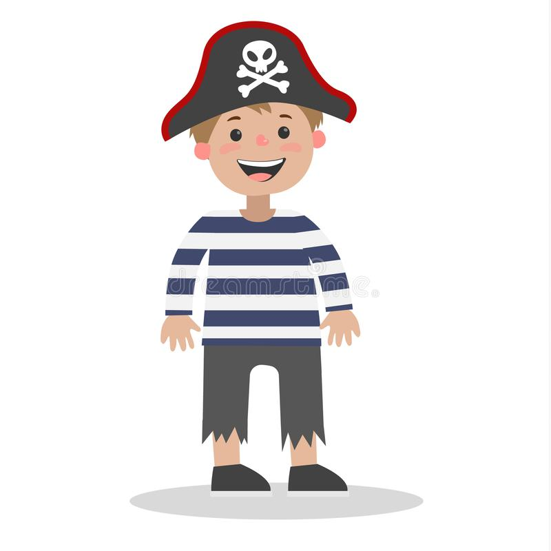 Weinig jongen die zich in Halloween-piraatkostuum bevinden stock illustratie