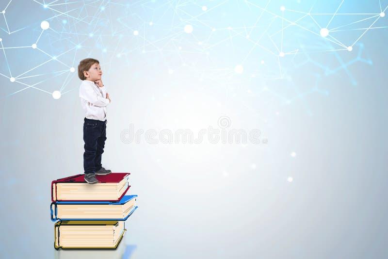 Weinig jongen die zich op boeken, netwerk bevinden royalty-vrije illustratie