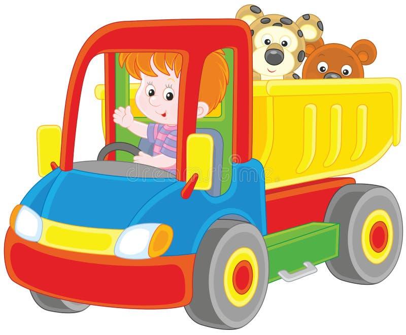 Weinig jongen in een stuk speelgoed vrachtwagen vector illustratie