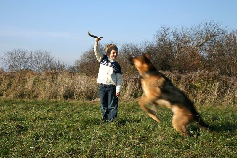 Weinig jongen en grote hond (Duitse herder). stock foto's