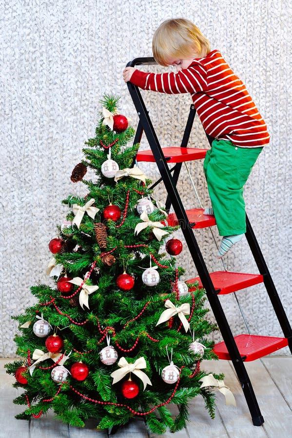 Weinig jongen en Kerstboom royalty-vrije stock fotografie