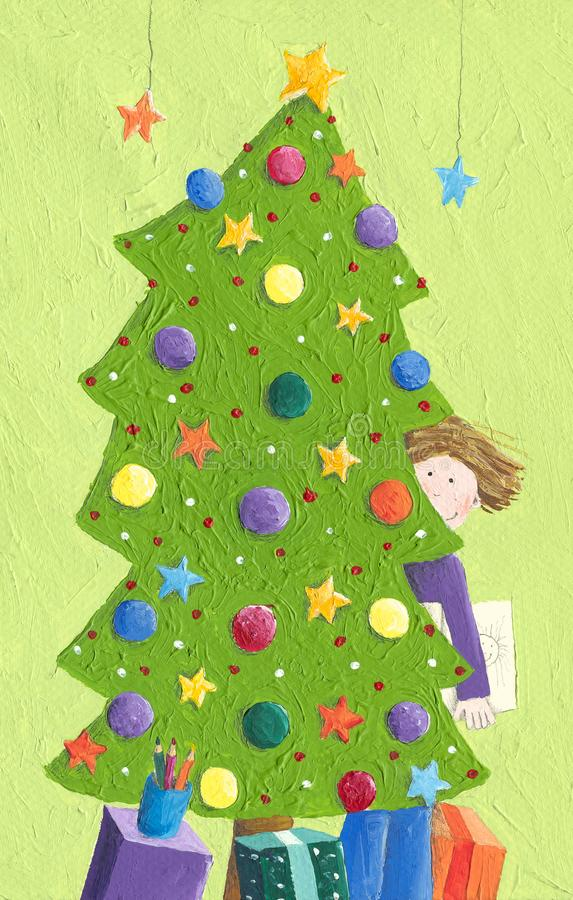 Weinig jongen en Kerstboom vector illustratie