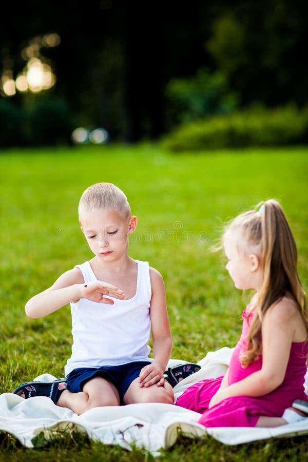 Weinig jongen en meisje met onzelieveheersbeestje in park stock fotografie