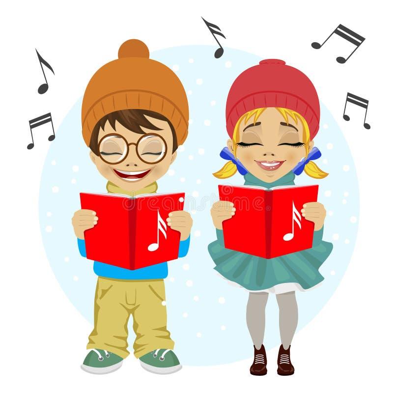 Weinig jongen en meisjes het zingen Kerstmishymnes stock illustratie