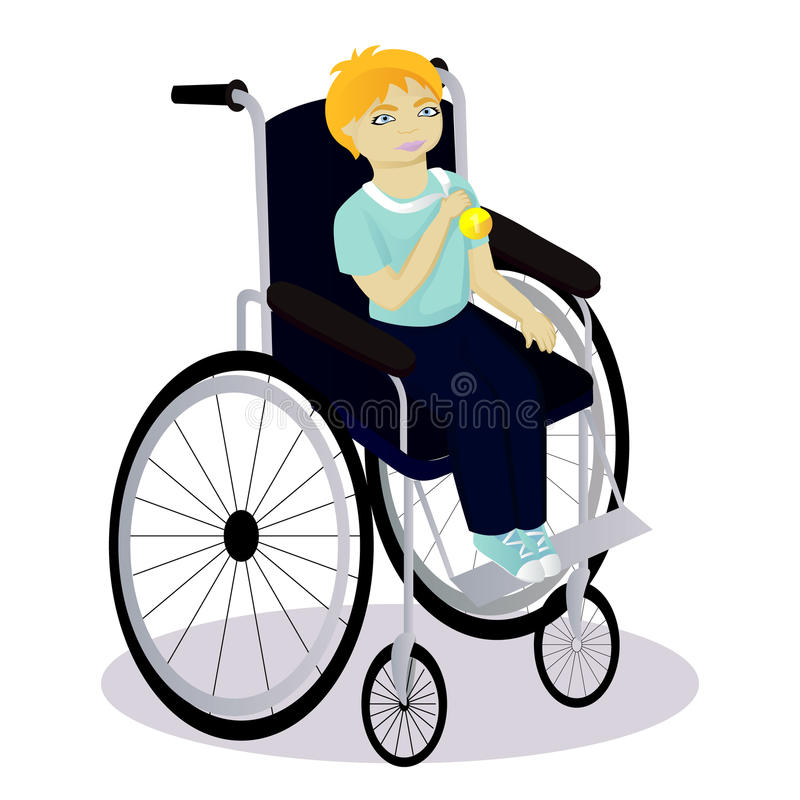 Weinig jongen gehandicapt in een rolstoel heeft een medaille vector illustratie