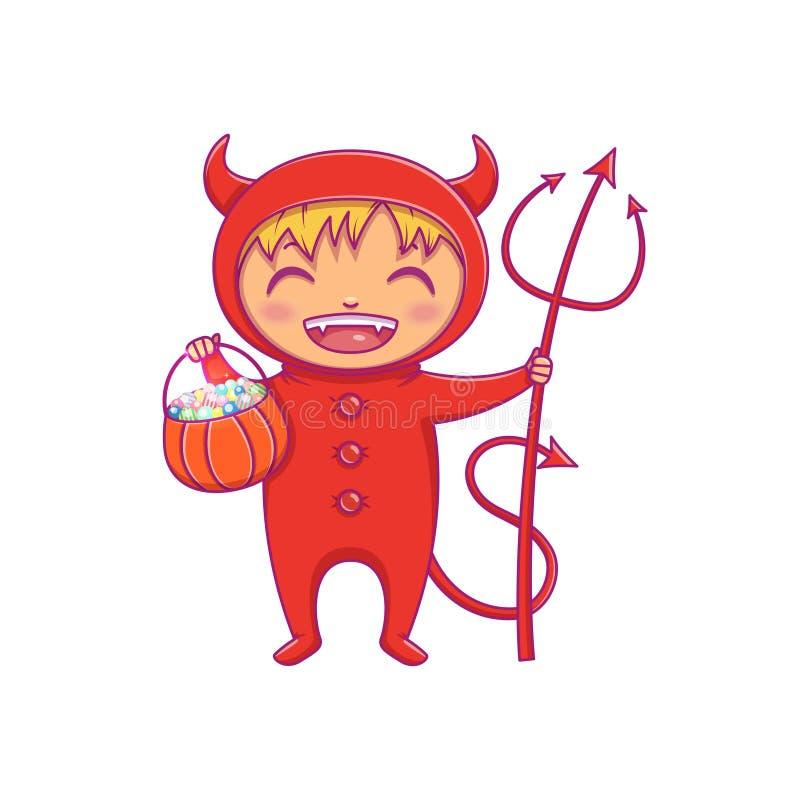 Weinig jongen in Halloween-kostuum van duivel het lachen Beeldverhaalkarakter voor partij, uitnodigingen, Web, mascotte stock illustratie