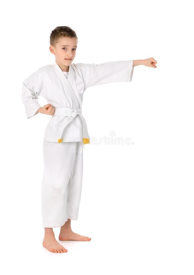 Weinig jongen het praktizeren Karate stock afbeelding