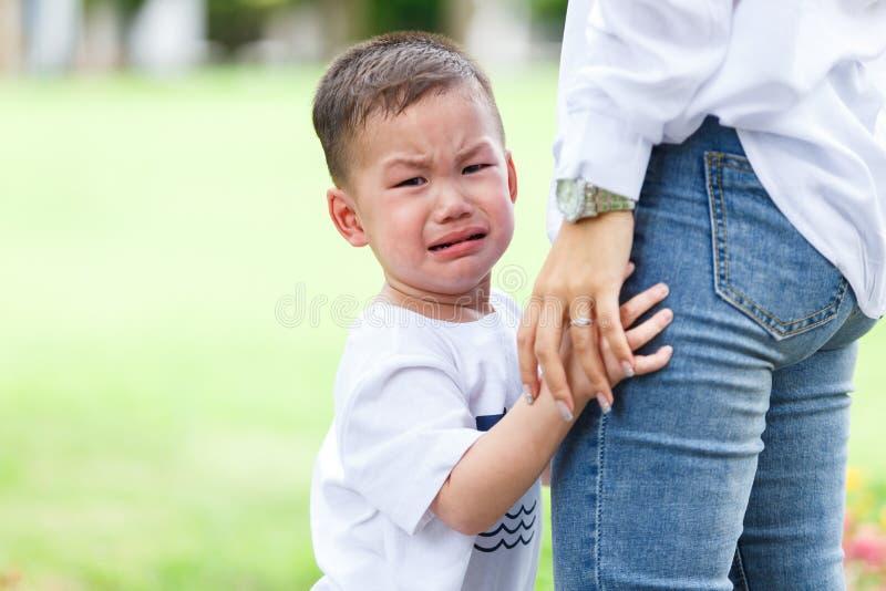 weinig jongen het schreeuwen stock fotografie