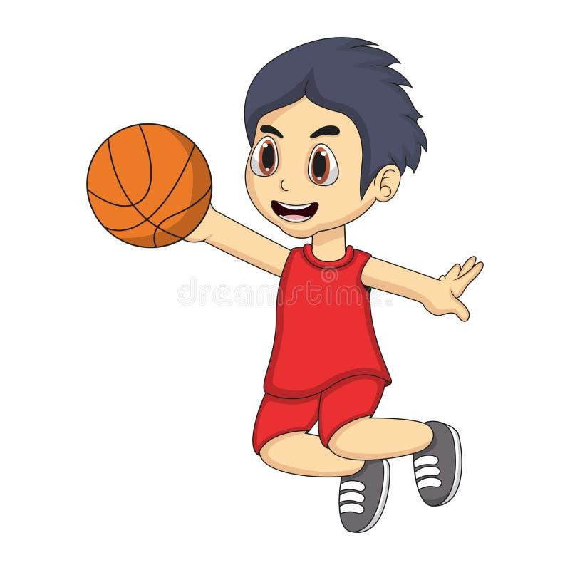Weinig jongen het spelen basketbalbeeldverhaal stock illustratie